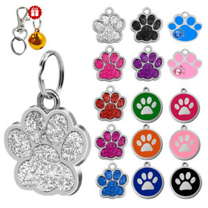 Round Bone Paw Print Custom Personalized Dog Tags Disc Free Engraved Cat ID Tag