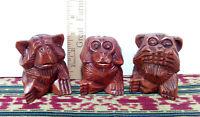 3 Wise Monkeys, Hard Wood Hand Crafted: See no evil, hear no evil, speak no evil