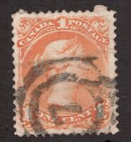 Sc#23 - Canada - 1869 - 1 Cent Large Queen - used vf -  superfleas