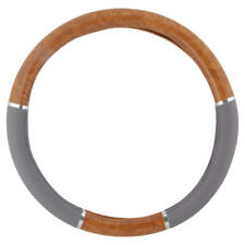 Light Wood Colored PU Leather Steering Wheel Cover for Auto Car SUV - Gray