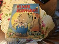 Vtg Walt Disney Elmer Elephant Linen Like Book 1938 Early Mickey Mouse Nice Copy