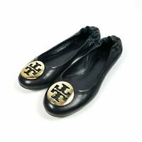 Tory Burch Authentic Women's Black Leather Ballet Classic Flats Gold LOGO