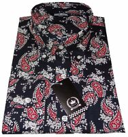Relco Men's Blue & Red Paisley Long Sleeved Button Down Shirt 60's Mod's