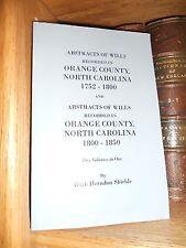 Orange County North Carolina Abstracts of Wills Genealogy