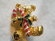 Beautiful Holiday Christmas Brooch Pin Gold Tone Teddy Bear Candy Cane Cute