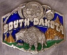 Pewter Belt Buckle State of South Dakota colored NEW