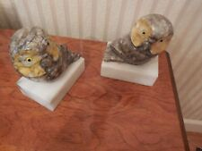 Vintage Pair OWL BOOKENDS Marble Stone Italy