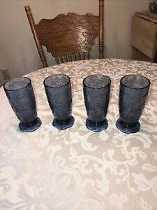"PRINCESS HOUSE CRYSTAL FANTASIA BLUE 18oz FOOTED TUMBLER GLASSES "" SET OF 4 """