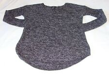 H&M Black & Gray MARLED Long Sleeve High-Low V-Neck SWEATER Sz X-SMALL (XS)-