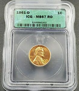 1961 D Lincoln Memorial Cent Penny Coin Vintage ICG MS67 RD RED Gem BU