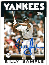 Billy Sample 1986 Topps New York Yankees SIGNED CARD AUTOGRAPHED