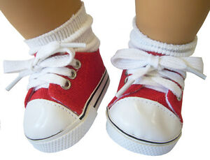 Red Sneakers Canvas Gym Shoes For Bitty Baby Doll Clothes
