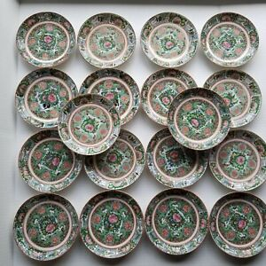 "ANTIQUE CHINESE PORCELAIN 5.5"" SIDE PLATES/SAUCERS ROSE MEDALLION CANTON L/O  18"