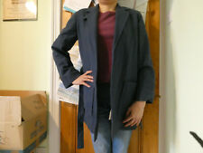 Vintage Plant Pure wool blue lined coat Size 12 Made in England