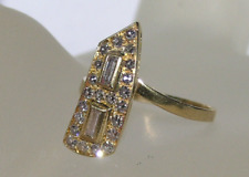 18 k Yellow Gold, Baguette, Round Diamond Cut, Antique  Ring