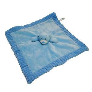Korimco Blue Teddy Bear Lovey Security Blanket Plush Satin Soft Toy Washed Clean