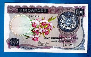 RARE W/O RED SEAL Singapore P6c $100 1st ORCHID Issue Sign HON SUI SEN 1970 AUNC