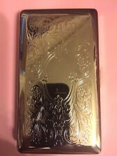 Silver Art Deco Victorian Scroll Cigarette Case Business Credit Card Holder