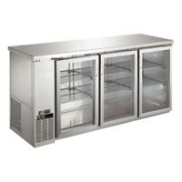 PEAKCOLD Triple Glass Door Commercial Back Bar Cooler Stainless Steel - 72""