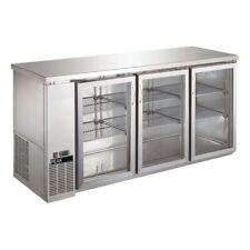 "Triple Glass Door Commercial Back Bar Cooler Stainless Steel - 72"""