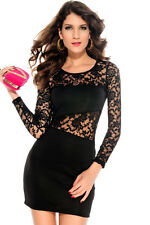 Black Floral Lace Long Sleeve Stretch Mini Dress Lingerie 2738