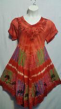 Women Clothing Tie Dye Sundress Summer Beach Sun Dress Red Green Pink Free Size