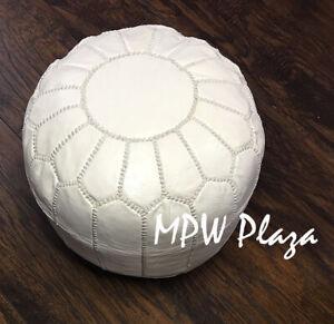 MPW Plaza Mini Pouf, White, Moroccan Leather Footrest