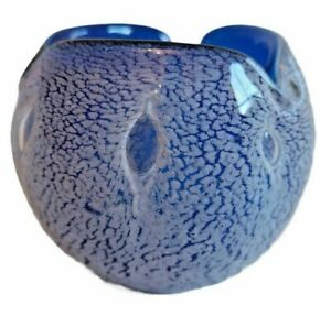VINTAGE MURANO BLUE/SILVER ART GLASS ROSE BOWL/VASE - STUNNING