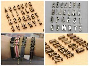 """Craft DIY Alphabet Letter """"A-Z"""" Slide Charm Beads Fit 7mm Slider Wristbands"""