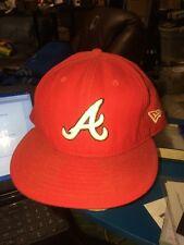 trucker hat baseball cap ATLANTA BRAVES FITTED NEW ERA SIZE 8  lid old school