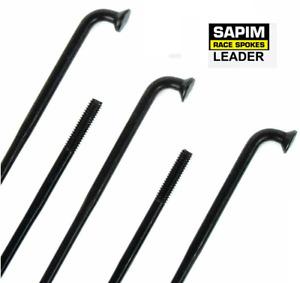 New Sapim Leader 297mm 2.0mm (14ga) J-Bend Bicycle Wheel Spoke Black / 5 Pieces
