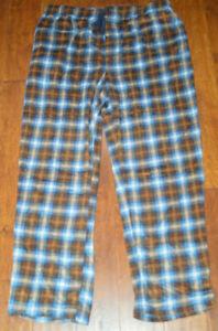 Men's Foundry Blue & Brown Plaid Microfleece Sleep Pants XLT, 2X, 2XLT, 3X, 3XLT