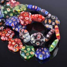 10pcs 16mm Mixed Flowers Millefiori Glass Loose Spacer Beads Craft Findings Lots