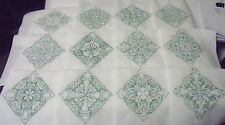 "Set of 12-Quilt Squares with 6"" Holiday Green Embroidered Swirls on White Cotton"