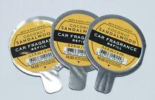 3 BATH & BODY WORKS COCONUT SANDALWOOD SCENTPORTABLE FRAGRANCE CAR REFILL LOT