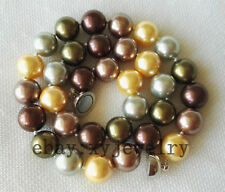 charming 14mm Multi-Color shell pearl necklace 20 inch magnet clasp