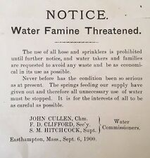 WATER FAMINE DROUGHT 1900 BROADSIDE NOTICE Easthampton, MA WATER COMMISSIONERS