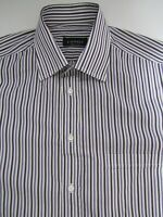 Canali Purple Stripe Dress Shirt Size 16 Made in Italy