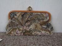 Small Vintage C&A Tapestry Clutch Bag Handbag Beige Brown
