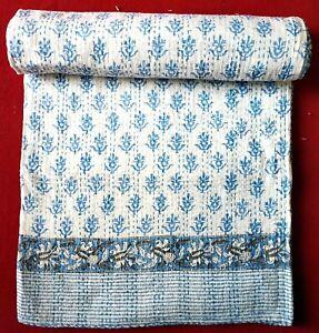 Kantha Quilt Indian Cotton Blanket Hand Block Print Queen Size Blue Colour Boho