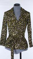 Vintage Hobbs Black Lime Green Printed Wrap Long Sleeve Blouse Shirt Jersey UK 8