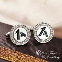 18K White Gold Plated Simulated Diamond Round Shaped Letter A Men`s Cufflinks