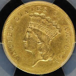 1874 O $3 Gold Piece PCGS AU Detail Pre 1933 US Gold