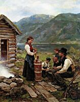 Family in a Norwegian fjord landscape. Life Art Repro choose Canvas or Paper