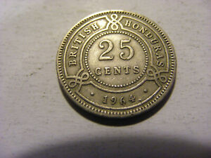 A 1964 British Honduras 25 Cents Coin - nice condition - 24mm