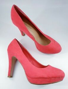 New Look size 6 (39) wide fit pink faux suede platform slim heel court shoes