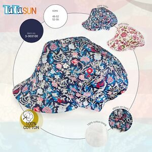 100% Cotton Spring Summer GIRLS sun pretty hat cap with UV+50 SUN PROTECTION