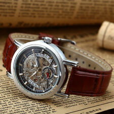 WINNER Mens Skeleton Automatic Mechanical Wrist Watch Self Winding Brown Leather