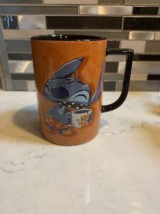 Disney Lilo & Stitch I Don't Do Mornings 16 oz Orange Black Coffee Cup Mug