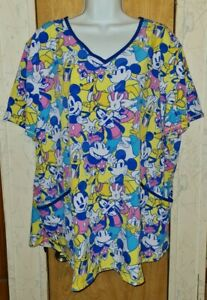 Disney Vibrant Yellow/Multicolor Classic Disney Characters Scrub Top Sz 2XL